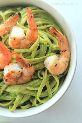 Goat-Cheese-Spinach-Pesto-Pasta-with-Grilled-Shrimp_8